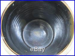 Antique #4 dark brown stoneware crock salt glazed pottery with light design