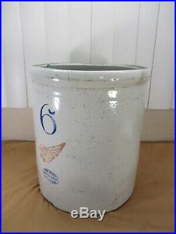 Antique 6 Gallon Red Wing Union Stoneware Pottery Crock approx 3 1/2 RED WING