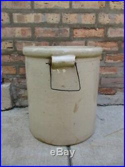 Antique 8 Gallon LARGE Red Wing Union Stoneware Pottery Crock with Bail Handles