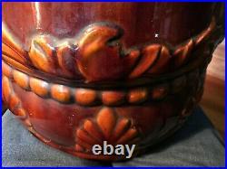 Antique ART NOUVEAU Brush McCoy Art Pottery CAMEO Majolica Umbrella Stand #79