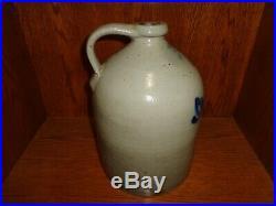 Antique A J Buttler New Brunswick NJ Cobalt Blue 2 Gallon Stoneware Pottery Jug