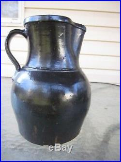 Antique Albany Glazed Southern Pottery Pitcher Stoneware Crock Jug 9.5 Tall