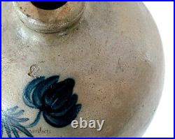 Antique American Stoneware Pottery Two Gallon Jug with Cobalt Decorated Flower