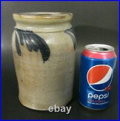Antique Americana Salt Glazed Stoneware Pottery Cobalt Blue Swag 7 Crock Jar