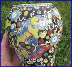 Antique Asian Collosine Painted Foo Dog Stoneware Pottery Vase With Repair