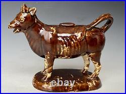 Antique Bennington VT Glazed Yellow Ware (F)enton Pottery Cow Creamer, 1849-1858