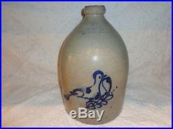 Antique Bird on a Branch Cobalt Blue Decorated Stoneware Pottery Jug, 2 Gallon