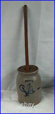 Antique Blue Cobalt Salt Glazed Stoneware Pottery Butter Churn Crock Olean NY