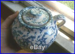 Antique Blue Spongeware Bean Pot With Original LID Unmarked Uhl Pottery Nice