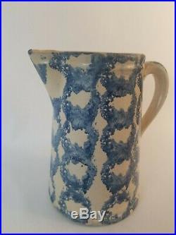 Antique Blue Spongeware Stoneware Pitcher Salt Glaze Chainlink Pattern Early1900