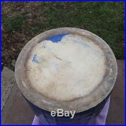 Antique Blue & White Stoneware Acorns Umbrella Stand Sand Jar by Uhl Pottery
