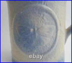 Antique Blue & White Stoneware BUTTERFLY Pitcher Salt Glazed Pottery Milk Jug