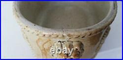 Antique Brampton Pottery salt glaze butter dish pot lion head 19th century 1830s