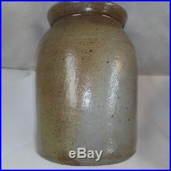 Antique Brown Salt Glazed Stoneware Pottery Crock IH Wands Olean NY