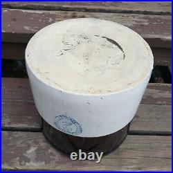 Antique Burley Winter Pottery Blue Heart 2 Gallon Primitive Stoneware Crock