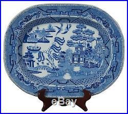 Antique Burslem Staffordshire Stoneware Blue Willow Transferware Platters 16