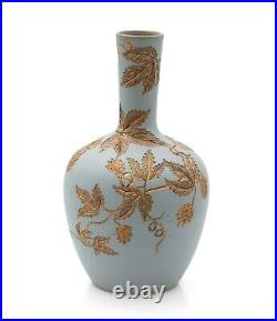 Antique Calvert & Lovatt Langley Ware Stoneware Sgraffito Vase in Duck Egg Blue