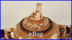 Antique Ceramic Stoneware Castle Gluhwein Punch Bowl & 6 Mugs Set Germany 4L