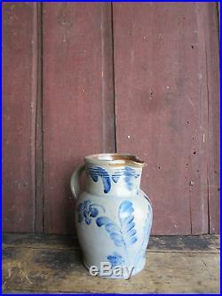 Antique Civil War Era Remmey Family Blue Decorated Salt Glazed Stoneware Pitcher