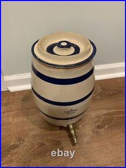 Antique Cobalt Blue 2 Gal Stoneware Crock With Lid &Spout Farmhouse Rustic Pottery