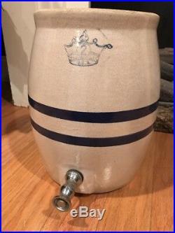 Antique Cobalt Blue 2 Gallon Stoneware Crock With Spout Farmhouse Rustic Pottery