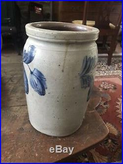 Antique Cobalt Blue Decorated Stoneware Pottery Crock