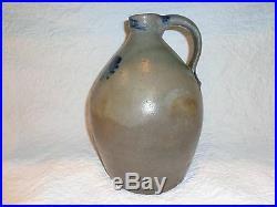 Antique Cobalt Blue Decorated Stoneware Pottery Storage Jug/Jar