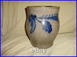 Antique Cobalt Blue Floral Decorated Stoneware Pottery Crock, Poss. Remmey (j1)