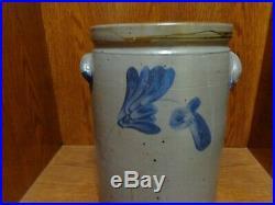 Antique Cobalt Blue Floral Decorated Stoneware Pottery Crock, Prob. By Remmey
