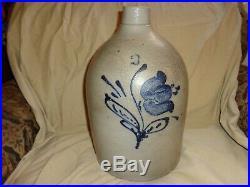 Antique Cobalt Blue Tulip Decorated Stoneware Pottery 3 Gallon Jug, (j1)