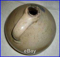 Antique Cobalt Wing Or Leaf Decorated Salt Glaze Stoneware 2 Gal Ovid Ovoid Jug