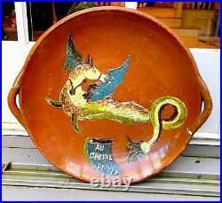 Antique Confit French Pottery Bed Warmer Stoneware Emerald Glazed Bottle Jar Pot