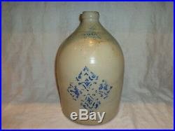 Antique Cowden Cobalt Blue Stenciled Stoneware Pottery Storage Jug, 2 Gallon