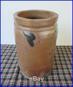 Antique Crock, Stoneware Half Gallon, Cobalt Decorated, Gray/Brown Salt Glaze