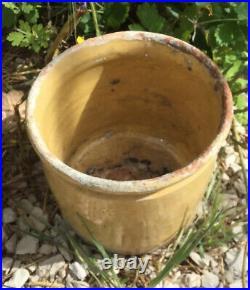 Antique FRENCH CONFIT Jam Pot POTTERY Jar Yellow Stoneware Crock Conserving