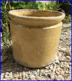Antique FRENCH CONFIT Pot POTTERY Jar Yellow Stoneware Crock Earthenware Mustard