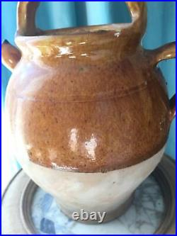 Antique FRENCH Gargoulette POTTERY Water Jar Stoneware CONFIT Pot Ochre Yellow