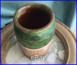 Antique FRENCH Pot Au CONFIT POTTERY Jar Green Small Stoneware Crock Earthenware