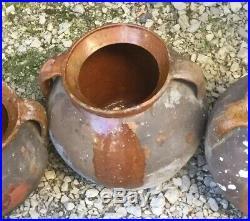 Antique FRENCH Pot Au CONFIT POTTERY Jar Red-ware Stoneware Crock Earthenware