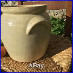 Antique FRENCH Pot CONFIT POTTERY Jar Cream Stoneware Crock Earthenware 9 Ears