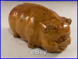 Antique Folk Pottery Stoneware Yellowware Decorated Pig Animal Figure Statue