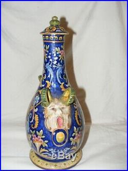 Antique Fourmaintraux Freres Desvres Majolica Pilgrim Flask Faience Grotesque