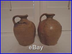 Antique French 19th C. Primitive Pair Terracotta Stoneware Glaze Pottery Jugs