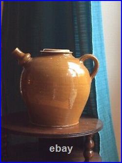 Antique French Gargoulette Pottery Oil Jug Jar Stoneware Earthenware CONFIT Pot