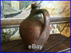 Antique French Stoneware Pottery jug Green Glazed Pitcher French Farmhouse