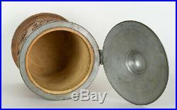 Antique German Stoneware Salt Glaze Tobacco Jar Pewter Mounts Floral Relief