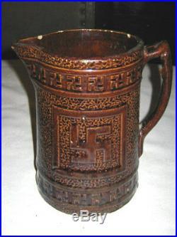 Antique Indian Swastika Folk Art Country Kitchen Stoneware Pottery Milk Pitcher