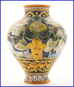 Antique Italian Majolica Vase signed CANTAGALLI Rooster Italian Decorative