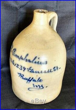 Antique J. Fisher Lyons Ny Script Jug, Saltglaze Stoneware Pottery, 2 Gal, EC