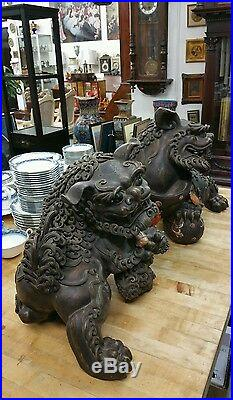 Antique Large Pair Of Chinese Stoneware Foo Dogs With Enamel On Pottery, Rare